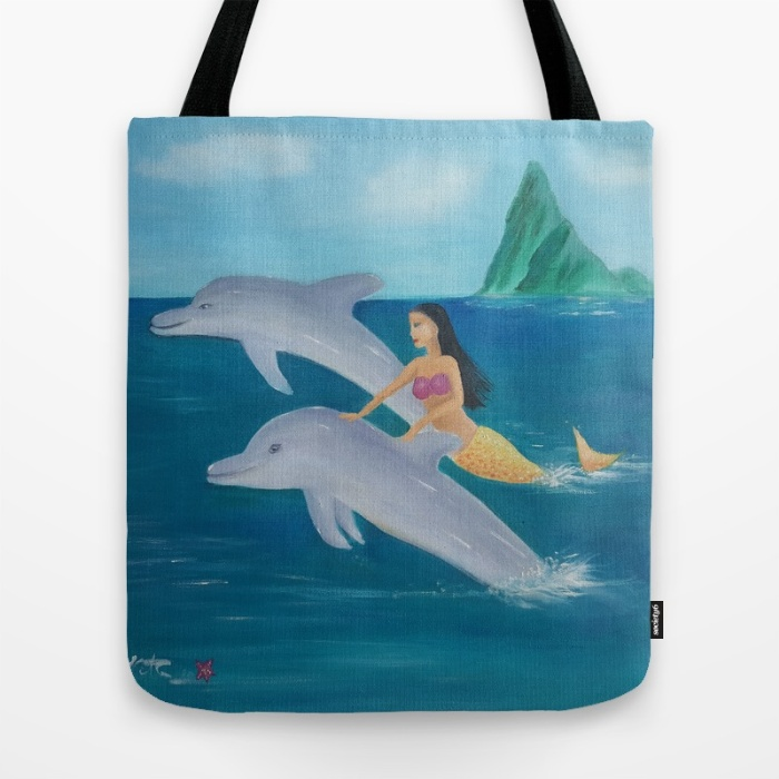 Mermaid and dolphin totebag