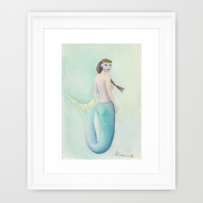 Framed Watercolor Mermaid Princess